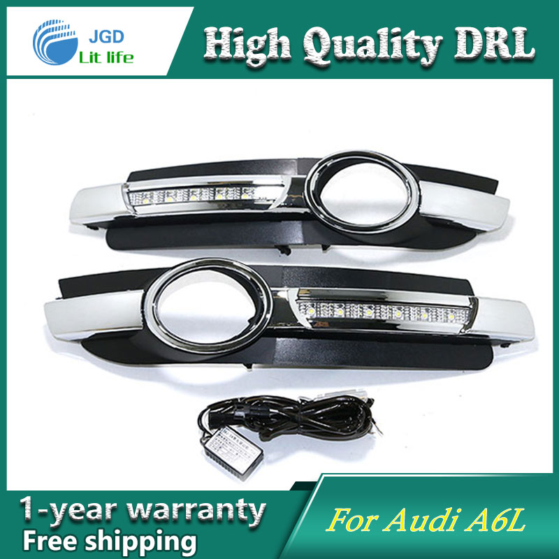 Case For Audi A6L 2005 2006 2007 2008 Yellow Turning Signal Relay Waterproof Car DRL 12V LED Daytime Running Light Fog Lamp<br>