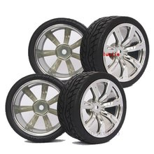 9025-8004 4PCS RC 1/10 1:10 On Road Model Car Tires Rubber Sponge Speed Liner Tire Tyre Wheel Rim HOBBY(China)
