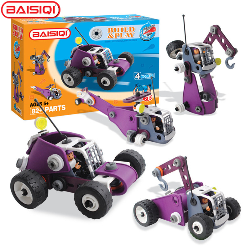 4 IN 1 Mechanical engineer Building block set Purple Construction Tower crane legoing creator technic toy kit for boy Xmas Gift<br>