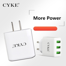 CYKE 3 USB Port 15W USB Charger Charging Adapter China EU US Plug For Samsung Charger For iPhone and All Smart Phone 5V 3A(China)