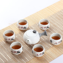 Hot,7 pcs,Snow glaze ceramic kung fu tea sets, porcelain tea cups,for Chinese black puer,green tea with jasmine,home use(China)