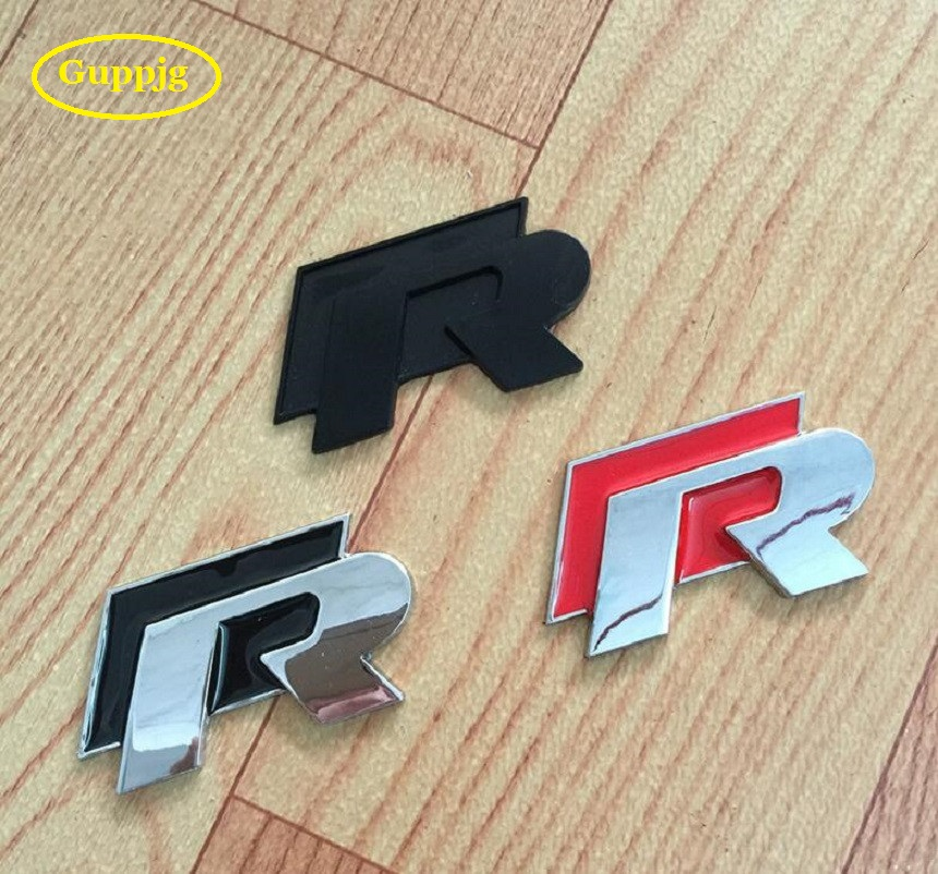 1 pc 3D Chrome R line Badge logo Emblem Rline Car stickers Racing logo VW Golf 5 6 7 Touareg Tiguan Passat B6 B7 Jetta Sharan(China)