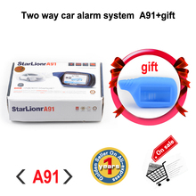 Free shipping Russian version two way LCD remote engine start Starlionr A91 2 way auto alarm system Starlionr A91