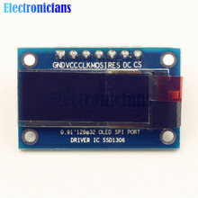 0.91 Inch SPI 128x32 Blue OLED LCD Display DIY Module SSD1306 Driver IC DC 3.3V-5V For Arduino PIC Free Shipping