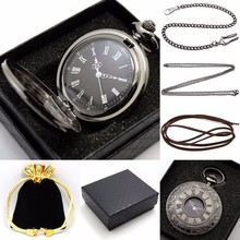 Retro Hollow Pocket Watch Gifts Sets Black Roman Numbers Carving Face Quartz Clock Fob Watches Suits Gift for Men Women Friends