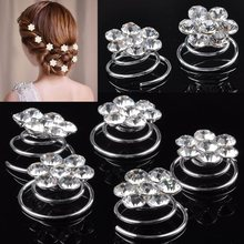 Hot 12pcs/lot Flower Clear Crystal Diamate Wedding Bridal Prom Hair Twists Spiral Coils Hairpins Styling Hair Accessories