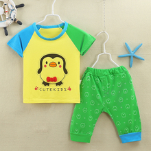 Summer baby clothes Costume for boy Odale Elastic Cotton Children's short sleeve T-shirt set Cartoon logo printed T-shirt 20#