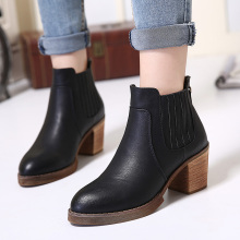 2017 Newly Woman's Martin Boots Microfiber Leather Winter Boots Women's High Heels Fashion Short Plush Boots