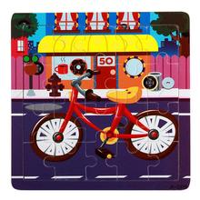 Bike image Style Cartoon puzzles baby toys material wood puzzles toys for children #XT(China)