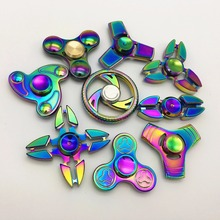 14 Style Fidget Spinner Metal Finger Hand Spinner Dazzling Colorful Cool Stress Wheel Cube Toy Figit Spiner Adults children Gift