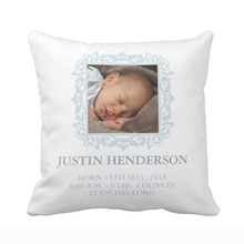 Personalized Blue Photo Baby Nursery Birth Stats Announcement Pillow Cover Soft Polyester Cotton Home Decorative Cushion Cover