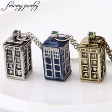 Popular BBC Television Doctor Who Necklaces Tardis Police Box Vintage Chain Pendants For Men And Women Jewellery Accessories