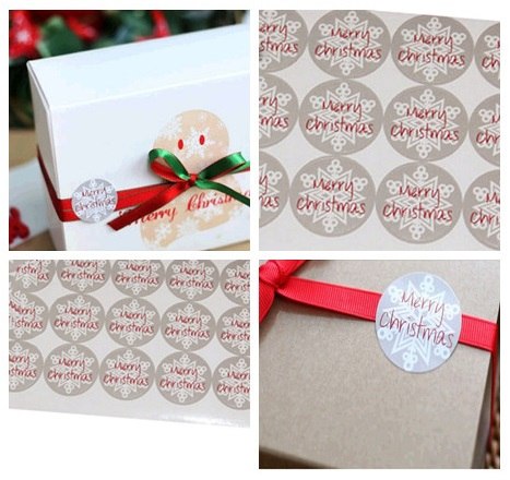 60pcs Merry Christmas Snowflake Stickers Round 3.5CM Gift Packing Kraft Paper Label For Baking Package Box/Bags/Cup Seal Label