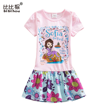 bibihou Girls Princess sofia dresses Kids Clothes For Girl Cocktail dress shorts Sleeve Vestido infant Party kids girls clothes