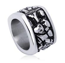 Oversized Titanium Steel Plate Pull Ring 316L STAINLESS Steel Biker Ring Exaggerated Retro Skull Ring For Man 36G 17MM(China)