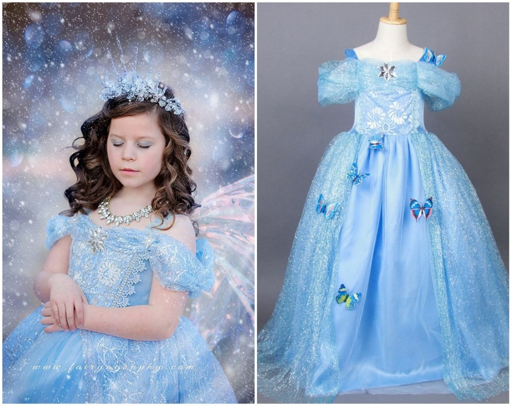 EMS DHL Free Cinderella Summer Style Little Girls Princess Party Dresses Limited Edition Ice Queen Ballgown Luxury Halloween<br><br>Aliexpress