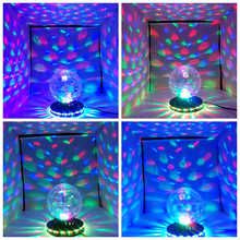 Mini RGB Crystal Magic Ball Effect Light  Auto Rotating Bulbs LED Disco Party KTV Disco DJ Stage Party AC110V 220V