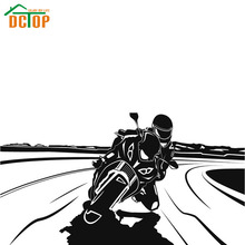 Racing Driver Riding Motorcycle Wall Sticker For Kids Room Vinyl Removable Hollow Out Room Wall Decor Boys Bedroom Wall Decals(China)