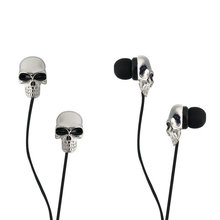 1pc Unique Design 3.5mm In ear earphone High Performance Metal skull headset Newest In stock!
