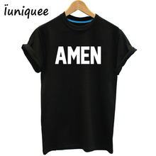 Unisex Men/Women Jesus t shirt Christian AMEN tees Cotton T-Shirt Summer Style Tops Plus Size S-XXXL(China)