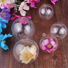 10pcs Acrylic Transparent Ball Christmas Decorations for Home 70/80mm Clear Plastic Ball Candy Box for Favors Party Supplies(China)