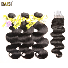 BAISI 100% Unprocessed European Virgin Hair Extensions Body Wave 8-28inch 3 Bundles with Closure Free Shipping, Natural Color(China)