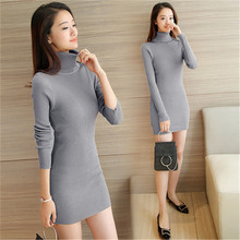 Buy 2017 Autumn&Winter Women Knitted Dress Slim Sexy Solid Turtleneck Long Sleeve Sweater Dress Plus Size Gray White Black Dress for $22.99 in AliExpress store