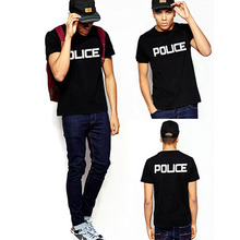 Free shipping the police Cotton leisure T-shirt man tshirt euro size short sleeve O neck t-shirts wholesale crime