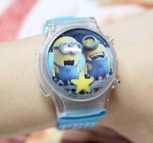 One Piece Retail Minions LED Boys Cartoon Watches Kids Despicable Me Children Digital Watch With Flashing Light Free Shipping