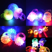 Woman Girl Boy Man LED Flashing Light Rings Blinking Jelly Finger Rings Glow Party Supplies Christmas(China)
