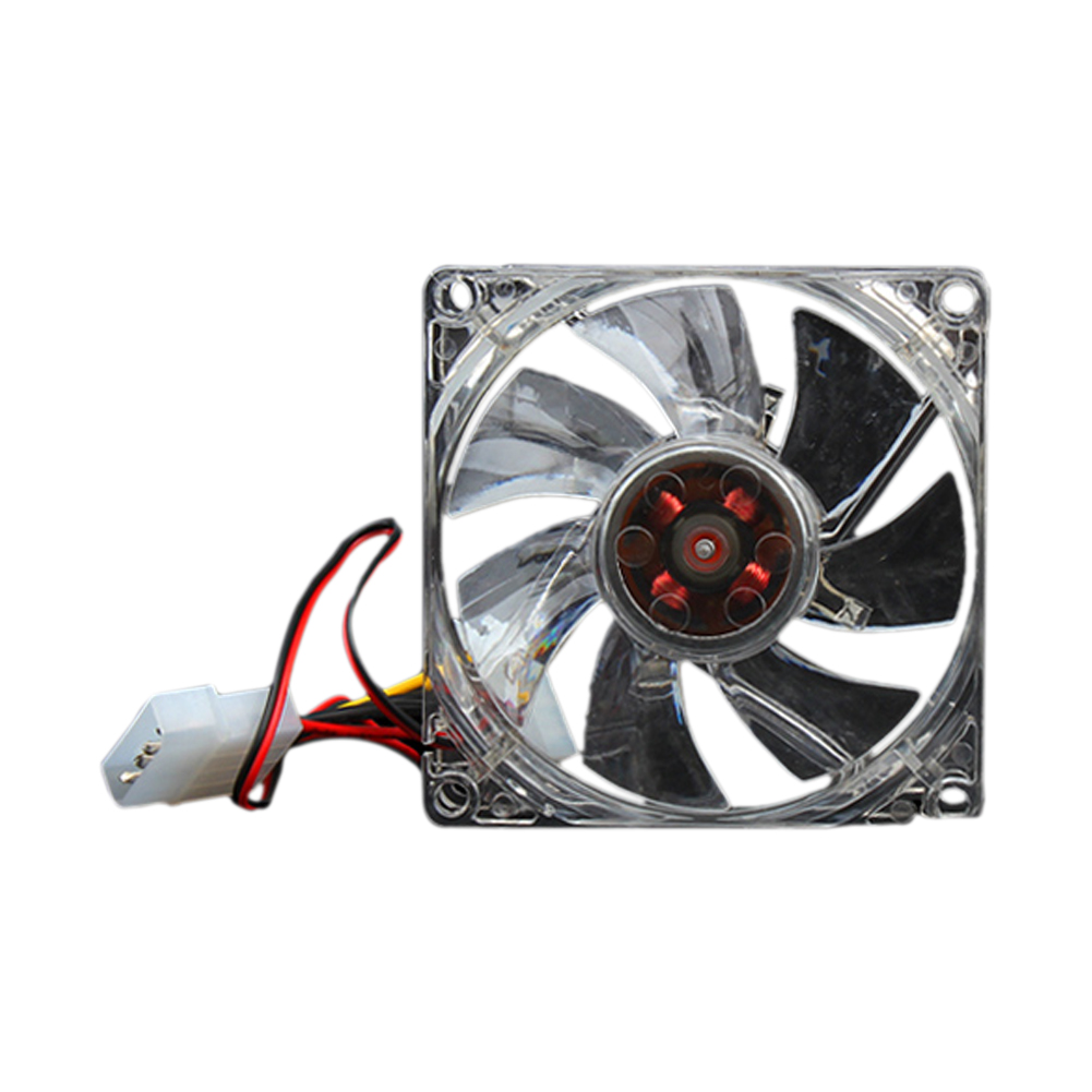 Quiet Desktop PC Case Fan Cooling 4 LEDs New 80mm 88 QJY99(China (Mainland))
