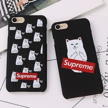 Cartoon Middle Finger Cat Scrub Hard Plastic Case For iPhone 7 Plus 5 5s SE Back Cover For iPhone 6 6s 7 Plus Shell Fundas Coque