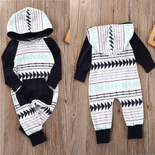 2017 Newborn Baby Girl Boy Fashion Geometric Hooded Rompers Jumpsuit Clothes Outfits(China)