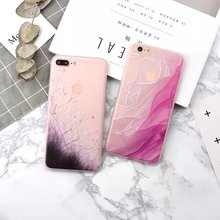 Fashion Gradient Flowers Grass Case For iphone 7 Case 3D Relief Colorful painting Soft TPU Back For iphone 6S 6 7 PLus Fundas