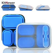 Portable lunch box Silicon Collapsible microwave Lunch Box bento lunch box-thermos folding lunch box set food container