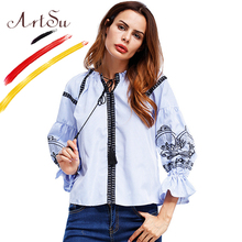 ArtSu Boho Vintage Women's Shirt Pattern Embroidery Striped Blouse 2017 Autumn Puff Sleeve Tie Neck Tassel Blouses Top ASBL20204