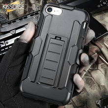 KISSCASE For iPhone 7 Case Military Hybrid Black Armor Phone Cases For iPhone 6 7 6S Plus 5S SE Cover Heavy Duty Kickstand Coque
