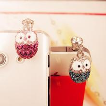 Fashion Lovely Owl Diamond Pendants Dust Plug Universal Cell Phone Headset Plug Headphone Jack Dust Plug(China)