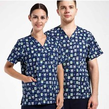 Hospital Beauty Salon Clinic Men Woman Doctor Medical Scrub Top Nurse Medical Uniform Health Care ONLY SHIRT Fresh Printing,120(China)