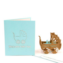 3D Pop Up Cards for Happy Birthday Anniversary Greeting Cards Wedding Lover laser cut wedding invitations post card(China)
