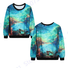 Harajuku Women Exercise Sweaters Green Space Galaxy Tracksuits Winter Training Hoodies Blue Autumn Oversized Sweatshirt Pullover(China)