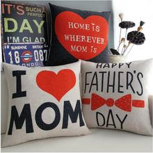 Father and Mother's Day gift loving parents cotton cushion  pillow  Linen cushionss home Decor sofa cushions