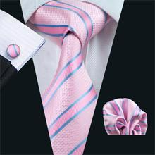 FA-433 Gents Necktie Pink Stripe 100% Silk Jacquard Tie Hanky Cufflinks Set Business Wedding Party Ties For Men Free Shipping(China)