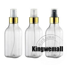 Free Shipping - 300pcs/lot 100ml  Plastic Perfume  Square Bottle With Gold Clourse ,Mist Sprayer Bottle,100ml Perfume Atomizer