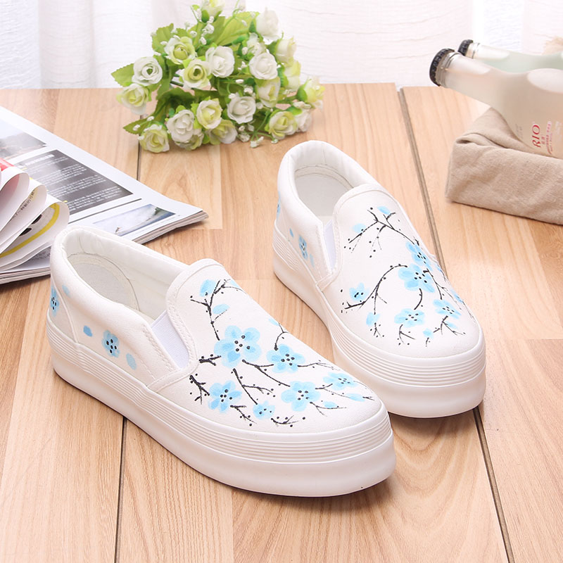 Preppy Style New Womens Flats 2017 Breathable Floral Hand Painted Women Canvas Shoes Platform Loafers Woman Espadrilles<br><br>Aliexpress