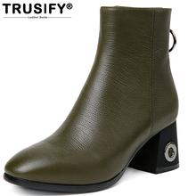 TRUSIFY 2017 Ohbriefly Leather Women 's Boots Fashion Boots Head Layer Cowhide Round Metal Rings Back boots winter(China)