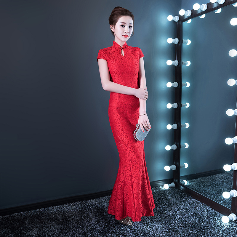 High Quality Red Lace Cheongsam Sexy Qipao Women Long Traditional Chinese Dress Evening Gown Party Dresses Style Chinois Femme