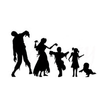 Walking Zombie Family Terror Car Sticker Wall Home Glass Window Door Laptop Auto Truck Vinyl Decor Decal Black 18.0cmX9.9cm
