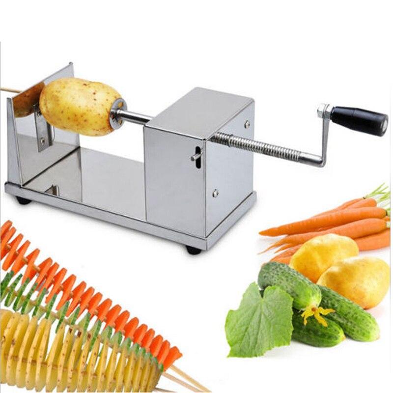 Manual Tornado Potato Machine Spiral Potato Slicer Stainless Steel Potato Tower Fruit Vegetable Kitchen Tool  ZF<br>