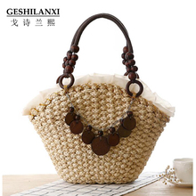 new simple pure Lace straw bag Mori Girl female Shoulder Bag hand woven bag